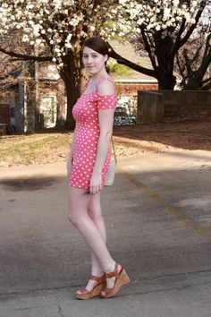 thrifted polka dots + new spring wedges!