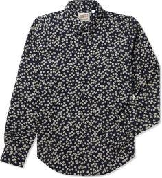 Indigo Kimono Flowers Slim Shirt
