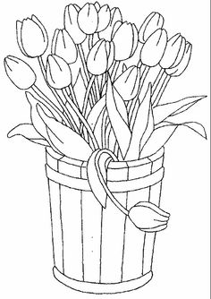 Free Printable Coloring Pages for children - A coloring book Flower Coloring Pages, Coloring Book Pages, Printable Coloring Pages, Coloring Sheets, Spring Coloring Pages, Fairy Coloring, Embroidery Patterns, Hand Embroidery, Tulip Colors