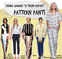 Fashion Foie Gras: Fashion week spring summer 2013 trends: Pattern Pants