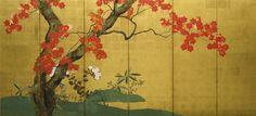 "Sakai Hōitsu (1761-1828), ""Maples"" of ""Maples and Cherry Trees"" pair of Japanese folding screens. after 1817. Nineteenth century. Rinpa School."