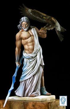 Unpainted unassembled mini figure model kit, Zeus and falcon 80 mm toy miniature Greek And Roman Mythology, Greek Gods, Game Character Design, Comic Character, Statues, Greek Warrior, Art Case, Greek Art, Fantasy Miniatures