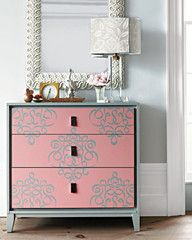Ribbon Damask stencil on furniture from Stewart Living Omnimedia. This is from our interview Royal Design Studio: DIY a Stencil Challenge Refurbished Furniture, Repurposed Furniture, Furniture Makeover, Painted Furniture, Stencil Dresser, Damask Wall Stencils, Wallpaper Dresser, Damask Decor, Paint Stencils