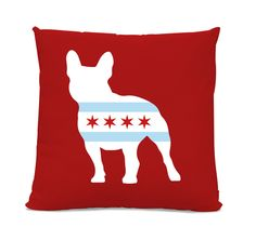 Chicago Flag French Bulldog Pillow - Chicago Home Decor - French Bulldog pillow - dog breed silhouette pillow - dog home decor - Dog Pillow by sophisticatedpup on Etsy