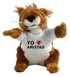 Ardilla personalizada de peluche (juguete) con Amo Amistad en la camiseta (nombre de pila/apellido/apodo) #camiseta #starwars #marvel #gift