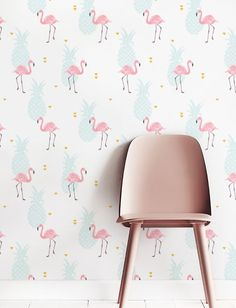Removable Wallpaper Self adhesive Wallpaper Flamingo by Jumanjii