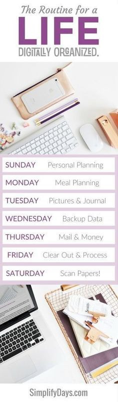 How to maintain a life digitally organized in just minutes a day. Get the details, tips & tutorials. // http://SimplifyDays.com