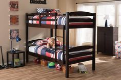 Baxton Studio Crimson Dark Brown Solid Wood Twin Over Twin Bunk Bed
