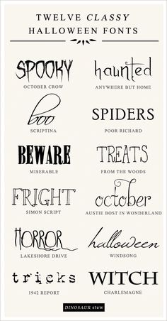 12 Free Halloween Fonts No Tricks All Treats - Fonts - Ideas of Fonts - Haunted. All of these words describe our favorite free halloween fonts. Enter at your own risk! Halloween Fonts, Classy Halloween, Halloween Tags, Halloween Quotes, Halloween Projects, Holidays Halloween, Free Halloween Printables, Halloween Letters, Party Printables