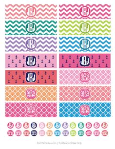 FREE monogrammed iPhone Charger Wraps. Print yours today at www.ForChicSake.com! #freeprintable #chevron #quatrefoil #anchor #monogram