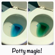 Potty training idea - put blue food coloring in the water when they pee it turns green. Potty magic! My little girl thought this was so fun!