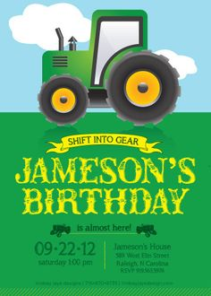 Tractor Birthday Invitation by LindsayJayeDesign