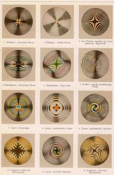 form constants of optical mineralogy. Chromatic Polarisation of Light (German, unknown) Mineralogy, Nature Tattoos, Science Art, Sacred Geometry, Mathematics Geometry, Geometry Art, Antique Prints, Op Art, Textures Patterns