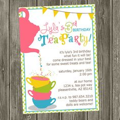 Tea Party Birthday Invitation by shelleyspaperstudio on Etsy, $15.00