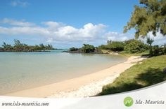 Mauritius, North, Grand Gaube Beach. Mauritius is a tropical island located in the Indian Ocean - a  paradise location inviting to travel to for a memorable unique holiday of a lifetime! // Lagoon, grass, beach, sand, clouds, sky, blue sky, good weather, azur blue lagoon, filao trees \\ #Mauritius #Travel #Holiday #Vacation #Destination #Tourism #Sightseeing #Places #Photography #Nature #Life #Wishlist #Dream I ❤ MAURITIUS! ツ
