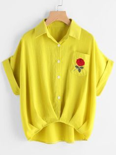 Shein Cuffed Rose Embroidered Dip Hem Shirt With Chest Pocket Short Sleeve Collared Shirts, Collar Shirts, Short Sleeve Blouse, Shirt Blouses, Rose Shirts, Summer Blouses, Summer Tops, Yellow Shirts, Inspiration Mode