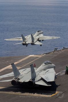 Carrier Strike Group Two conducts sea trials in the Atlantic prior to deployment - Tomcat Final Deployment Military Jets, Military Aircraft, Air Fighter, Fighter Jets, Avion Jet, Tomcat F14, Carrier Strike Group, Us Navy Aircraft, American Fighter