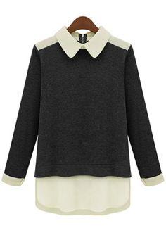 Black Contrast Lapel Long Sleeve Split Blouse US$26.07