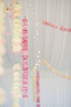 Tented Wedding Reception -- Strands of Hanging Flowers || See More On Style Me Pretty: http://www.StyleMePretty.com/australia-weddings/2014/02/18/whimisical-adelaide-hills-wedding/ Photography: Luke Simon