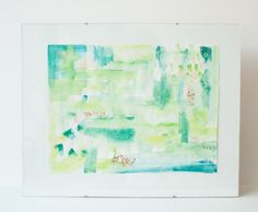 Shades of Green Goldleaf Watercolor & Gouache Abstract Fine Art Giclee Print by MadelynNicoleStudio