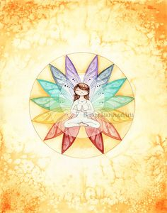 Namaste Chakra Yoga Fairy : Watercolor Painting by StarwoodArts