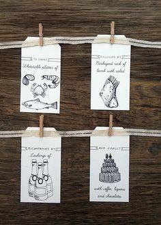 Super cute wedding menu