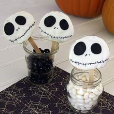 Jack Skellington Cookie Pops - There's no one better suited to preside over Halloween than an immortal pumpkin king dressed in a pinstripe tux and a bat bowtie.