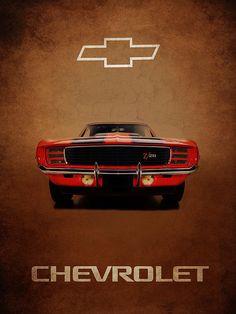 Chevrolet Camaro Z 28 Print By Mark Rogan Chevrolet Camaro 1967, Camaro Car, Chevrolet Trucks, Vintage Racing, Vintage Cars, Antique Cars, Chivas Wallpaper, Amg Logo, Car Prints