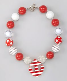 Red & White Anchor Necklace