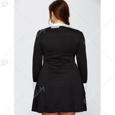 Autumn Ruched Faux Pearl Long Sleeve Dress, BLACK, XL in Dresses | DressLily.com