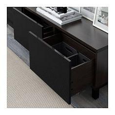 BESTÅ Storage combination with drawers - black-brown/Selsviken high-gloss/black, drawer runner, soft-closing - IKEA