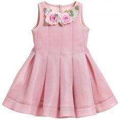 Monnalisa Chic - Dusky Pink Neoprene Style Dress | CHILDRENSALON