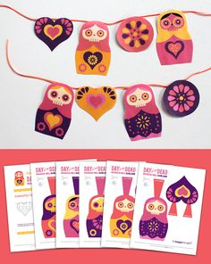 Free super cute and easy to make Russian Doll Day of the Dead garland! #matroyshka #halloween #dayofthedead