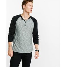 Express Marled Color Block Henley (160 BRL) ❤ liked on Polyvore featuring men's fashion, men's clothing, men's shirts, men's casual shirts, black, mens henley shirts, mens patterned shirts, mens straight hem shirts, mens color block shirt and mens long sleeve cotton shirts