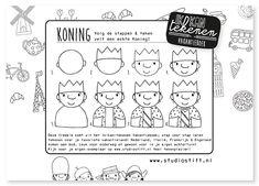 Freebie! Teken stap voor stap een echte #Koning! #koningsdag Studio Stift: voor vrolijke illustraties. Ieder idee begint met een stift!
