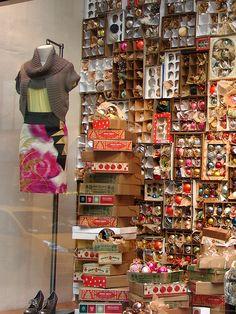 Holiday ornament window display