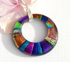 Multi Dichroic Glass Donut Pendant - Fused Glass Jewelry - Round Glass Necklace by TremoughGlass on Etsy