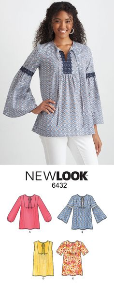 Achieve a boho chic look with NewLook pattern 6432! The pattern offers tops with several sleeve, trim and yoke style options.