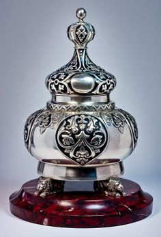 Faberge Silver and Enamel Inkwell. Marked under base with 1908-1917