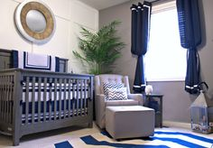 Navy and grey baby boy nursery. Really love the masculine style and decor that can be easily adaptable as the little one grows...