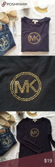 """Michael Kors long sleeve navy/rose gold tee Beautiful basic long sleeve tee with rose gold colored studs (none are missing). I love long sleeve tees in the fall!! Gently used, but in great condition! Measurements (laying flat): bust 20.5"""", length 27"""", arm 24"""" Michael Kors Tops Tees - Long Sleeve"""