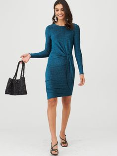 V By Very Glitter Twisted Jersey Mini Dress - Teal, Teal, Size Women - Teal - 22 Party Frocks, High Leg Boots, Girls Night, Dress Outfits, Kids Fashion, Cold Shoulder Dress, Teal, Dresses For Work, Casual