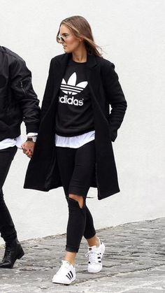 Adidas originals sweatshirt superstar sneakers street outfit chic fashion sporty black white coat ripped jeans #MensFashionSporty