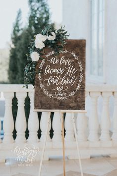 We Love Because He First Loved Us Sign, Rustic Wedding Signs, Bible Verse Sign, Wooden Wedding Sign, Farmhouse Decor - This lovely bible verse sign makes a beautiful statement piece for your wedding or home! Wedding Bible, Wedding Vows, Wedding Events, Our Wedding, Dream Wedding, Wedding Ideas, Wedding Verses, Wedding Season, Wedding Anniversary