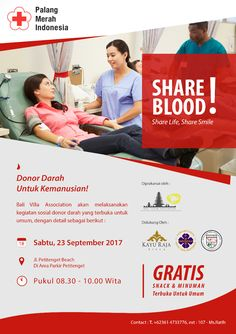 SHARE BLOOD SHARE LIFE, SHARE SMILE (BLOOD DONATION) . BVA Bali Villa Association Donor Darah untuk Kemanusiaan . SABTU, 23 SEPTEMBER 2017 JL. PETITENGET BEACH Pukul 08.30 - 10.00 Wita GRATIS PIC : 0361 4733776 ext. 107 - Ms. Ratih . www.villakayuraja.com . #blood #donation #sharelife #sharesmile #seminyakvilla #seminyakbalivillas #earlybird #lastminute #boxing #deal #honeymooninbali #balivilla #bali #cashbackpromotion #balipromotion #balihoteliers #holidayinbali #luxuryvilla…