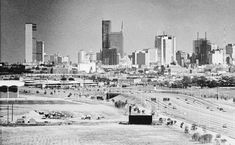 """Looking east at downtown Dallas, Texas shows the changing skyline with the new buildings that are changing Dallas' face. At left is Southland Life and the Sheraton Hotel. At center, Republic National Bank and 50 story tower to the left, Aug. 18, 1963."" (AP Photo"