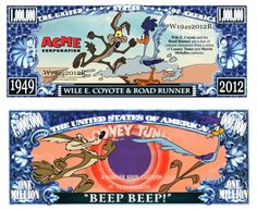 Novelty Money 25 Bills Looney Tunes Set Wile E Coyote and Road Runner Bugs Bunny Daffy Duck Porky Pig And More
