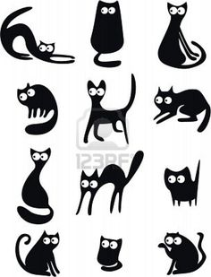 Cat silhouettes - to stencil, with googly eyes?
