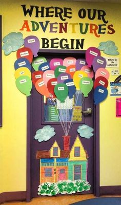 "This up, up, and away ""Where Our Adventures Begin"" classroom door display is so colorful and eye-catching."