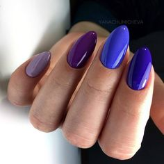 250 design : An exquisite collection of nail designs - Blue Gel Nails, Shellac Nails, Nail Manicure, Cobalt Blue Nails, Stylish Nails, Trendy Nails, Multicolored Nails, Jelly Nails, Gel Nail Designs